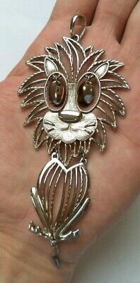 "Stunning Vintage Estate Articulated Silver Tone Lion Cat 5 3/8"" Pendant!!! 2124W"