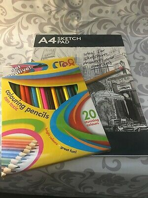 Kids Fun Art Kit Drawing Pad Pencils Draw Creative Supplies Sketch