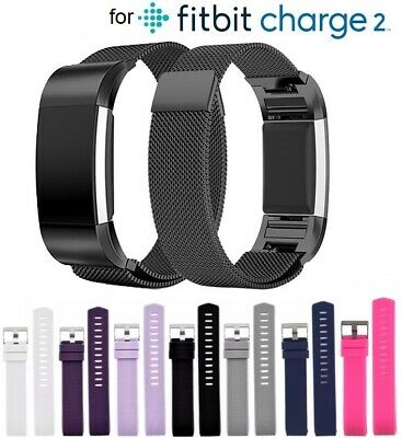 for Fitbit Charge 2 Replacement Band Strap Silicone Stainless Steel Milanese