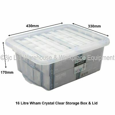 Humble Jms® Large Plastic Storage Clear Box Clear Lid Container Made In U.k.-set Of 3 Home & Garden Home Organization