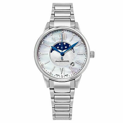 Alexander Women's Swiss Made Moonphase Vassilis Stainless Steel Link Bracelet