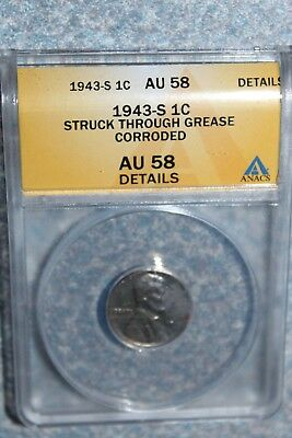 --- 1943-S Lincoln Penny Anacs Ms58 Struck Thru Grease ---