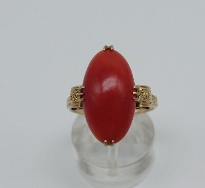 Antique Victorian 18K Solid y/Gold Large Salmon Red Coral Ring Size 7.25 Navette