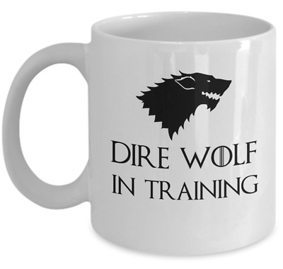 Game of Thrones coffee mug - Direwolf in training - House Stark Winterfell gift