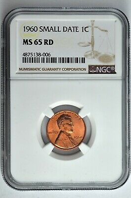 1960 Small Date 1c Lincoln Cent NGC MS 65 RD