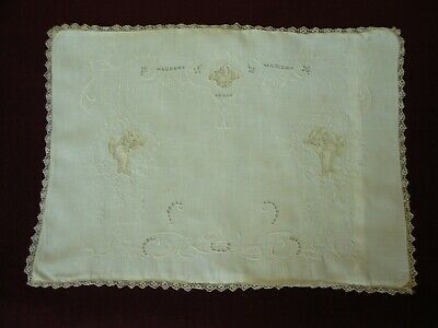 Antique / vintage baby pillowcase; embroidery, cut work, insets