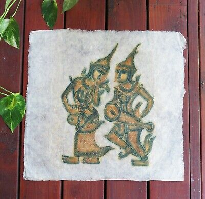 "VTG Thai Buddhist Temple Rubbing on Rice Paper 21"" x 21"" Dancers Art Un-Framed"