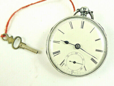 ANTIQUE  ENGLISH sterling SILVER POCKET WATCH 1856 CHESTER LIVERPOOL STAFFORD