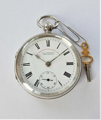 1899 Silver Cased English Lever Pocket Watch J G Graves Sheffield Working