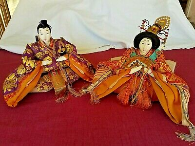Antique Japanese Hina Dolls Meiji Era Emperor and Empress Doll 19th Century