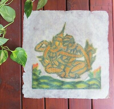 "VTG Thai Buddhist Temple Rubbing on Rice Paper 21"" x 21"" Green/Gold Un-Framed"