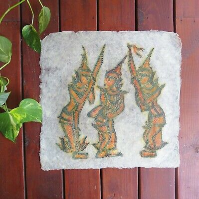 "VTG Thai Buddhist Temple Rubbing on Rice Paper 21"" x 21"" Musicians Un-Framed"