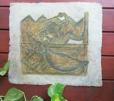 "Vintage Thai Temple Rubbing on Rice Paper 21"" x 21"" Buddha Reclining  Un-Framed"