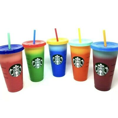 Starbucks Color Changing Cups Reusable 5-Pack Brand New