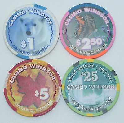 Set of 4 Windsor $1-$2.50-$5-$25 Casino Chips Ontario Canada H&C Paul-son Mold