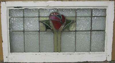 "OLD ENGLISH LEADED STAINED GLASS WINDOW TRANSOM Pretty Floral 29.25"" x 16.25"""