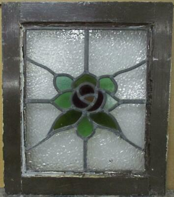 "OLD ENGLISH LEADED STAINED GLASS WINDOW Stunning Floral Leaf Design 15.5"" x 18"""