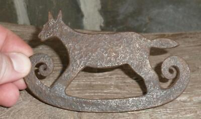 18th C Figural FOX Flint Striker Forged Iron ANTIQUE AMERICAN FOLK ART Rev War
