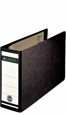 Leitz 80mm A5 180 Lever Arch On Board Oblong Spine Paper File - Black (Pack o...