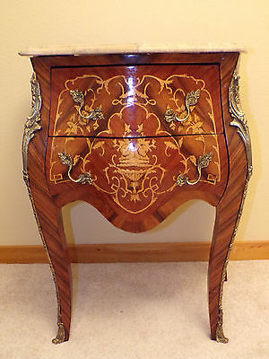 Antique Louis XV small bombé dresser - veneer - marquetry - marble top -