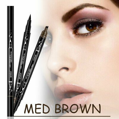 Eyeliner Waterproof 2 in 1 Makeup Tattoo Eyebrow Pencil Long Lasting Fork Tip