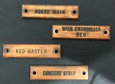 Set Of Four Vintage Copper Theater Light Switch I.D. Tags