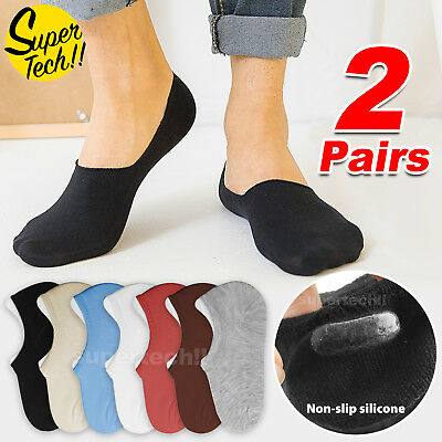 2 Pairs Non-Slip Cotton Socks Invisible No Show Footlet Low Cut For Men Women