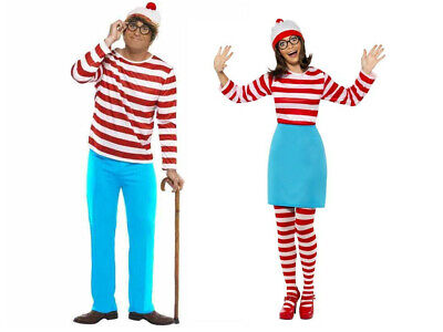 AU Wheres Wally Men's Women Where's Wally Stripy Shirt Adult Fancy Dress Costume