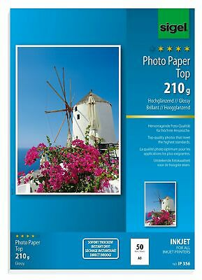 Sigel IP356 InkJet Top Photo Paper, glossy, bright white, 210 gsm, A3, 50 she...