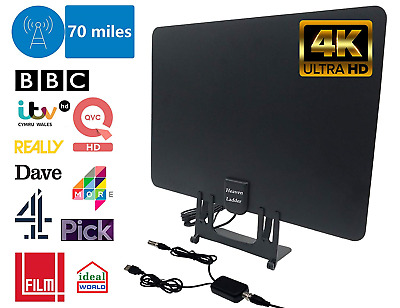 TV Aerial & Aerial Booster, Paper Thin TV Antenna Freeview 4K Full HD 70 Miles