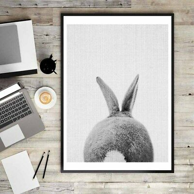 Lovely Nordic Rabbit Print Poster Wall Art Animal Canvas Painting Picture CY2Z