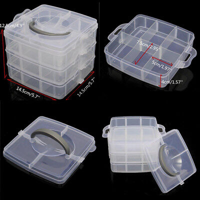 Plastic Clear Jewelry Bead Organizer Box Storage Container Case Bag Craft HOT