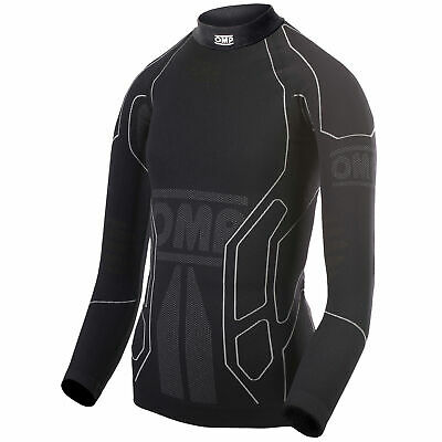 OMP KS Youth Long Sleeve Kart Karting Race Top Base Layer In Black