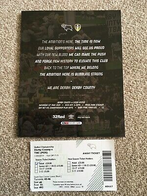 Derby County v Leeds United 11-05-2019 Play Off Semi Final Programme & Ticket