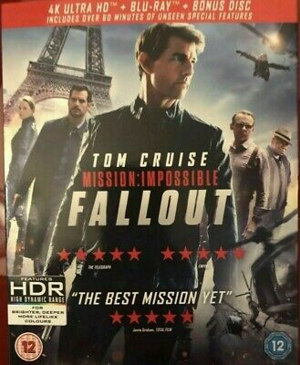 Mission Impossible Fallout 4K Ultra Hd + Blu Ray New Sealed With Slip Cover