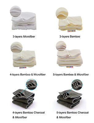 ALVA Baby Reusable Washable Microfiber & Bamboo Charcoal Cloth Nappies Inserts