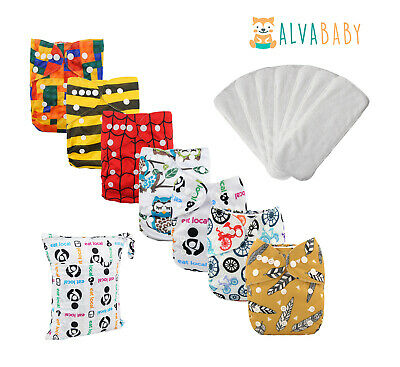 7pcs Alva Baby Cloth Diapers Reusable Washable Pocket Nappies Lot With 7 Inserts