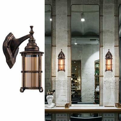 Waterproof Vintage Outdoor Light Glass Shade Metal Wall Sconce Rustic Decor Lamp