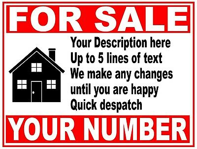"""Large 81cm x 61cm - 32"""" x 24""""  House Flat Property Business FOR SALE sign boards"""