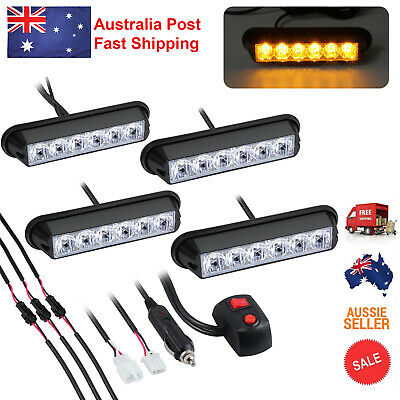 4PCS 6LED Amber Flashing Light bar Car Truck Hazard Recovery Strobe Lamp Kit