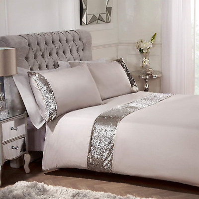 Sienna Mermaid Sequin Duvet Cover with Pillowcase Sparkle Bedding Set, Natural -