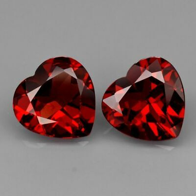 Gift Idea! 0,5 ct + 0.5 CT RED GARNET NATURAL GEMSTONE 1ct HEART SHAPED GARNET
