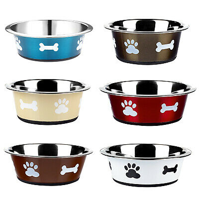 Dog Cat Rabbit Pet Animal Bowls Small Large Metal Stainless Steel Dish Classic