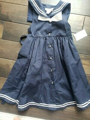 Sophie Rose Girls Sz 6 Navy Blue White Sailor Button Dress Collar Bow NWT
