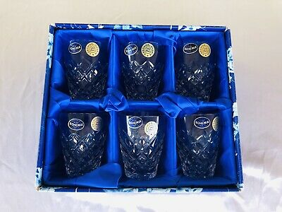 New Six Hand Cut Lead Bohemia Crystal Whisky Glasses New In Box, Made In Czech