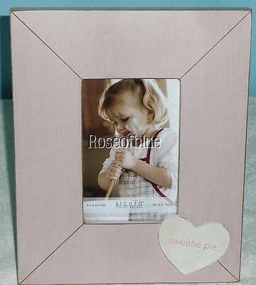 PINK HEART PHOTO 4 x 6 PICTURE FRAME WOOD SWEETIE PIE BABY MOTHER Spring Summer