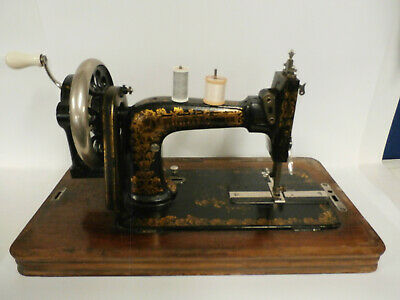 Frister And Rossmann Hand Cranked Vintage Sewing Machine With Case And Key