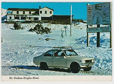 Mt Hotham Heights Motel w. Mazda R100 photo POSTCARD c1970 Australian Alps snow
