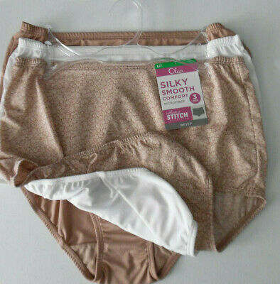 dd5bc56e6f43 3 Olga Brief Panty Set Smooth Microfiber Without A Stitch Floral White  Beige 7 L