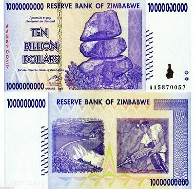 Zimbabwe 10 Billion Dollars 2008 Banknote UNC AA+ (Zm10B)